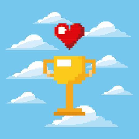 pixel spel trofee en hart leven prijs spelen vector illustratie Stock Illustratie