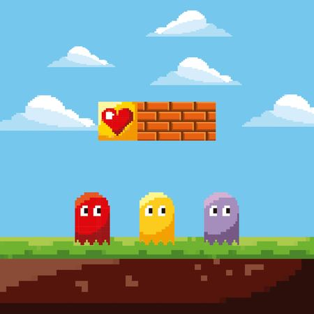 pixel game ghosts life prize and landscape brick wall vector illustration Illustration