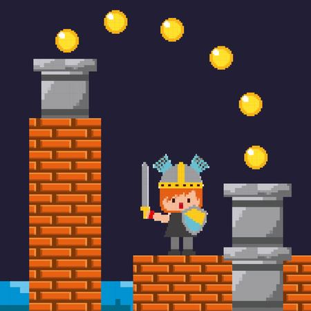 pixel game knight shield sword coins and brick wall vector illustration