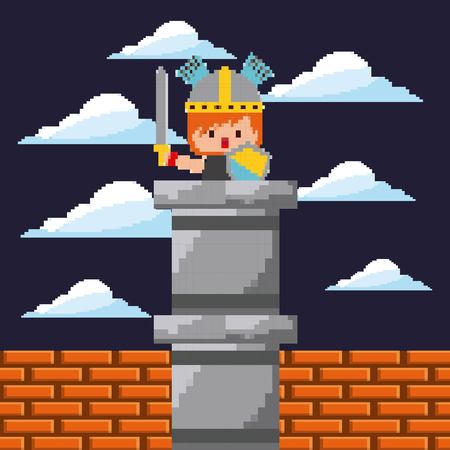 pixel game digital warrior character sword and shield night landscape vector illustration