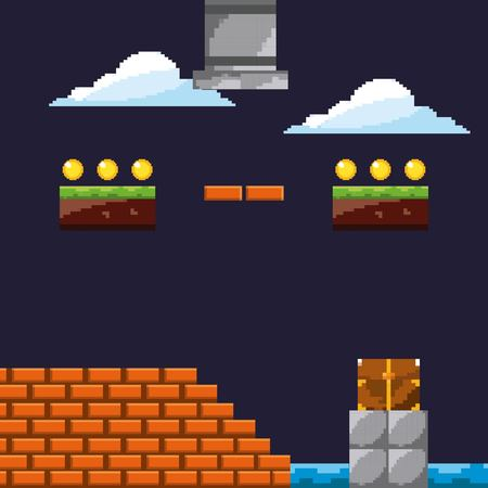 pixel game level with cloud coins brick wall vector illustration