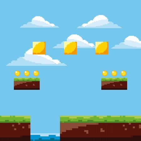 pixel game arcade scene platform gold coins treasure sky vector illustration