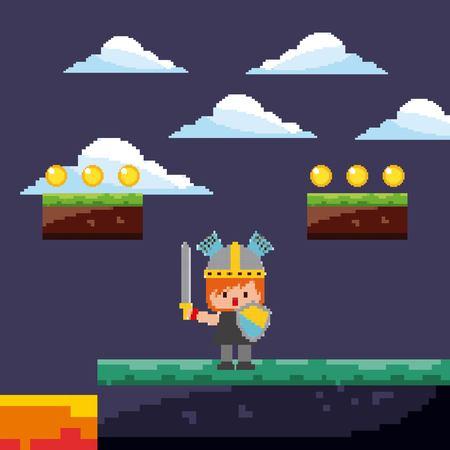pixel game warrior with gold coins and landscape vector illustration Illustration