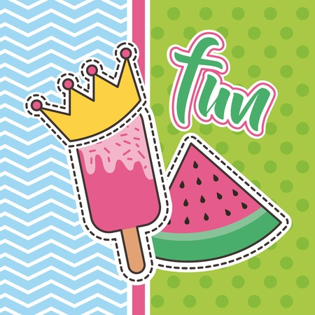 Cute patches fun lollipop and watermelon badge fashion vector illustration.