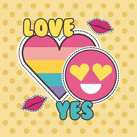 cute patches badge love yes heart smile fashion vector illustration