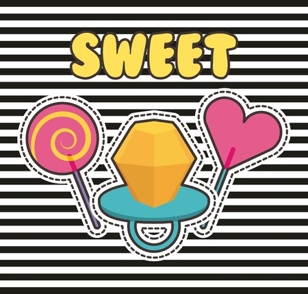Cute patches badge ring candy lollipop stripes fashion vector illustration.