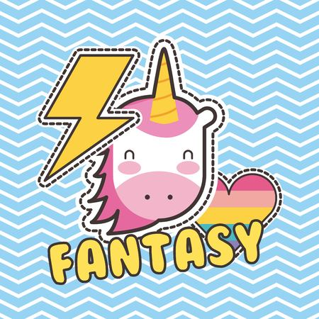 Cute patches unicorn heart love fantasy badge fashion vector illustration