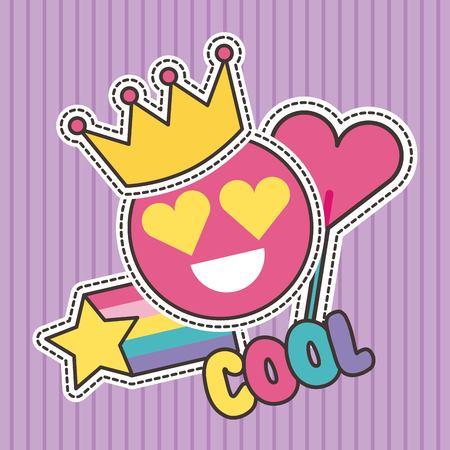 schattige patches badge cool glimlach kroon hart mode vector illustratie