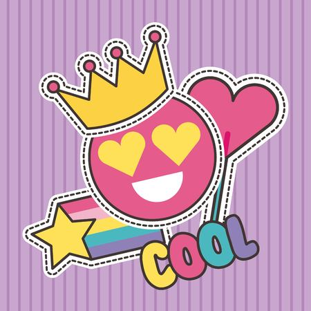 cute patches badge cool smile crown heart fashion vector illustration