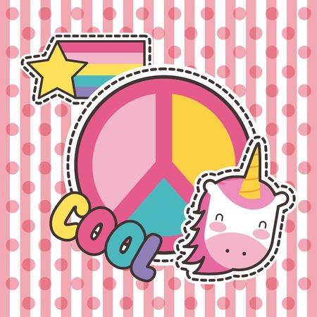 schattige patches badge eenhoorn koele vrede mode vectorillustratie
