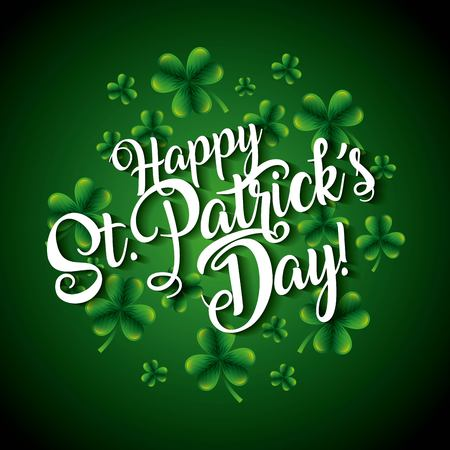 Happy st patricks day lettering and clovers background vector illustration