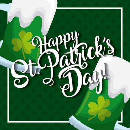 Happy st patricks day card greeting beers glass celebration vector illustration
