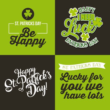 Happy st patricks day set cards greeting invitation vector illustration