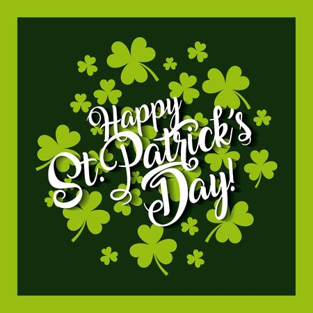 happy st patricks day invitation card with green clovers vector illustration Stock Vector - 93657938