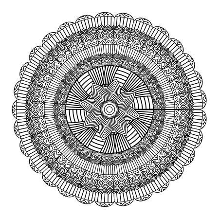 Mandala decorative ethnic element adult coloring design vector illustration.