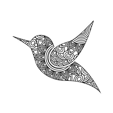 Drawing zentangle for bird adult coloring page vector illustration.