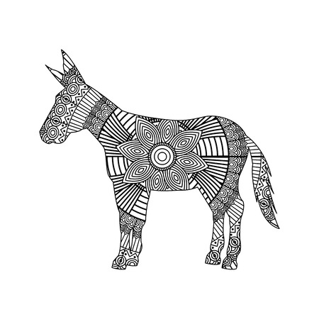 drawing for donkey adult coloring page vector illustration