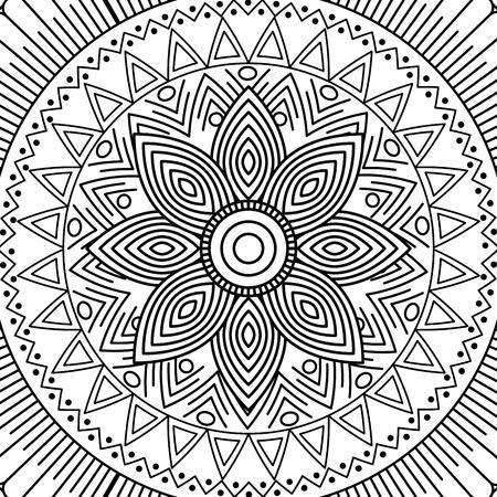 Mandala floral dekorative ethnische ethnische Malerei Färbung Design Vektor-Illustration