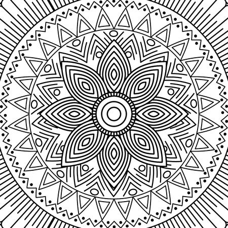 mandala floral decorative ethnic element adult coloring design vector illustration Vectores