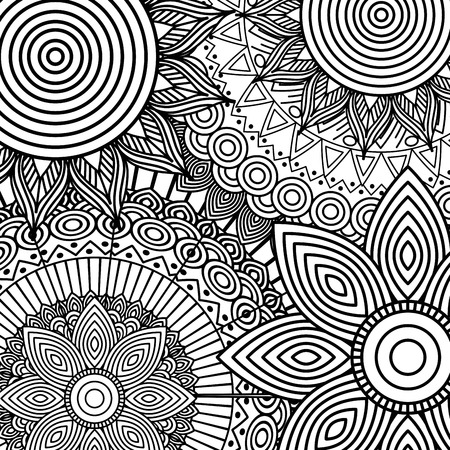 tribal ethnic floral mandala sketch pattern for coloring page