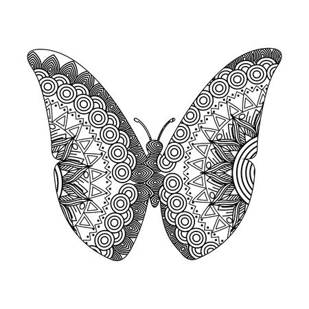 drawing for butterfly adult coloring page vector illustration