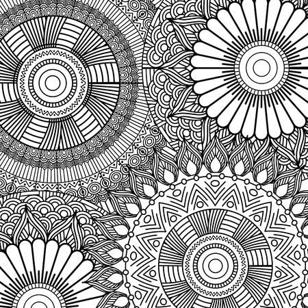 seamless pattern floral abstract vintage decorative element background adult coloring vector illustration Çizim