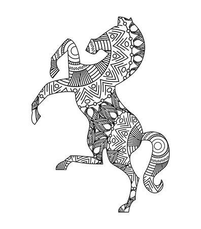 desenho para ilustração em vetor página adulta cavalo coloração