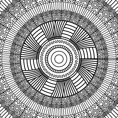 black and white geometric mandala tribal round ornament decoration for adult coloring book vector illustration Illustration