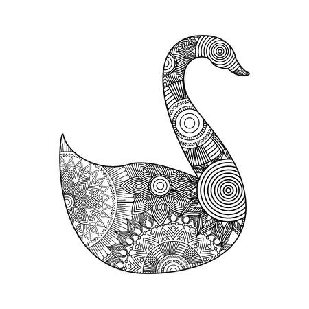 tekening zentangle voor zwaan volwassen kleurplaat pagina vectorillustratie Stock Illustratie