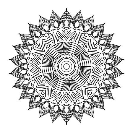 mandala floral decorative ethnic element meditation adult coloring design vector illustration Illustration