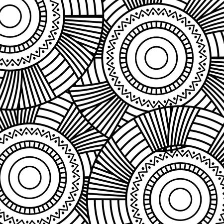 seamless pattern floral round abstract vintage decorative element background adult coloring vector illustration Иллюстрация