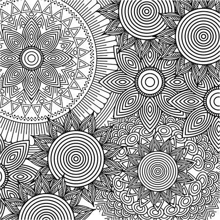 padrão sem emenda floral redondo abstrato vintage decorativo elemento fundo adulto coloração vetor ilustração
