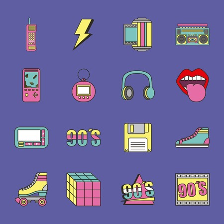 fashion 90s patches retro elements collection vector illustration Çizim