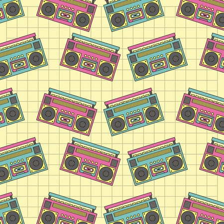 Seamless pattern tape recorder 90s device music retro vector illustration