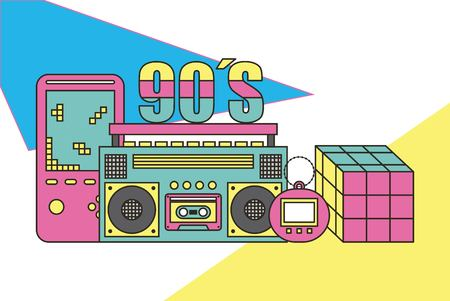 Tape recorder, cube, video game, tamagotchi. 90s devices and toys. Retro vector illustration.