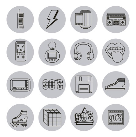 fashion 90s patches retro elements collection vector illustration Illustration