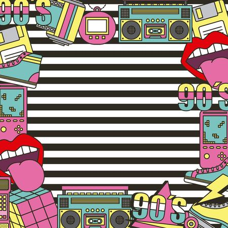 the 90s patches fashion poster frame decoration stripes background vector illustration