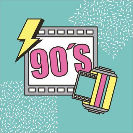 영화 시네마 90 년대 복고풍 축제 벡터 일러스트 레이션