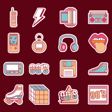 Fashion patches retro elements collection vector illustration