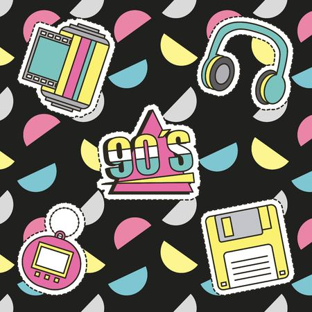 Fashion 90s patches retro elements collection. Vector illustration.