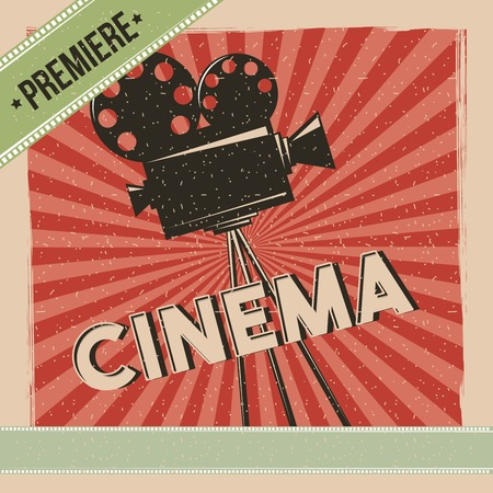 Cinema premiere movie retro poster vector illustration