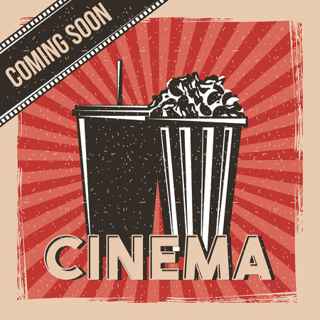 cinema coming soon movie premier poster vintage vector illustration Illustration