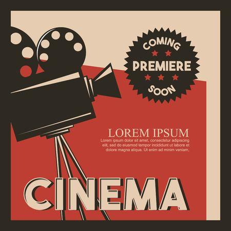 cinema poster retro style camera film premiere vector illustration