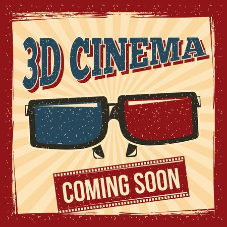 3d cinema coming soon glasses poster retro style vector illustration Illustration