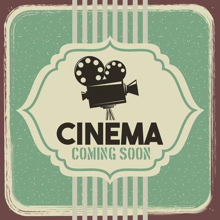 cinema poster vintage projector film movie vector illustration