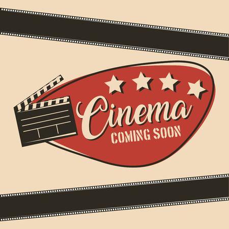 cinema coming soon movie film clapper board vector illustration
