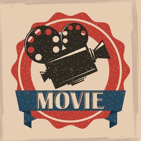 movie film projector retro poster vintage vector illustration