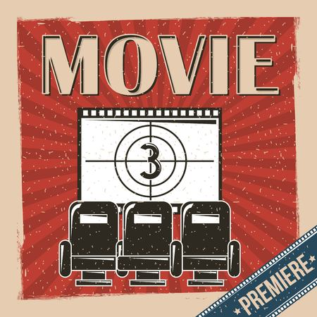 movie premiere poster retro vintage chair and film strip countdown vector illustration Illustration