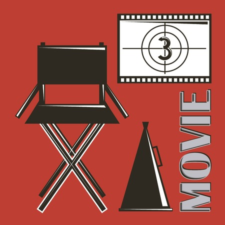 movie director chair megaphone and film strip countdown vector illustration