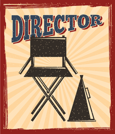 movie film director chair and megaphone speaker retro poster vector illustration